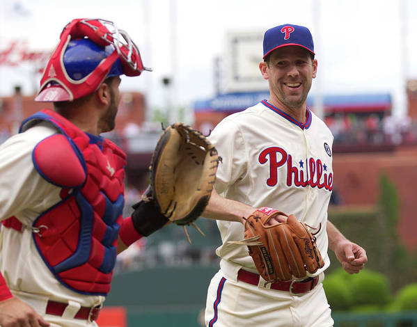 Baseball Catcher Art Print featuring the photograph Cliff Lee And Wil Nieves by Mitchell Leff