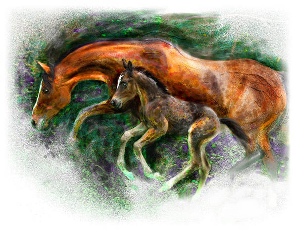 Horse Art Print featuring the painting In Harmony Three Days Old Arabian Mare Running Foal by Connie Moses