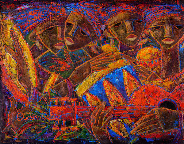 Puerto Rico Art Print featuring the painting Musas Del Caribe by Oscar Ortiz