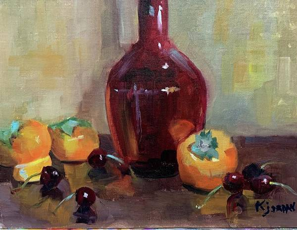 Art Print featuring the painting Persimmon Sweetness by Karen Jordan
