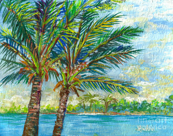 Florida Art Print featuring the painting Palm Breezes by Lou Ann Bagnall