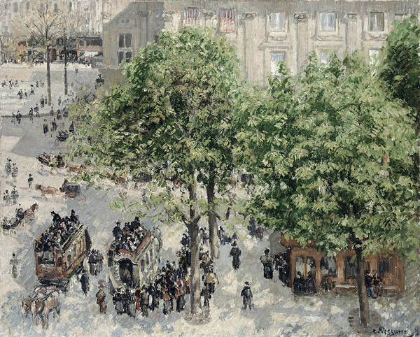 Impressionist Art Print featuring the painting Place Du Theatre Francais by Camille Pissarro
