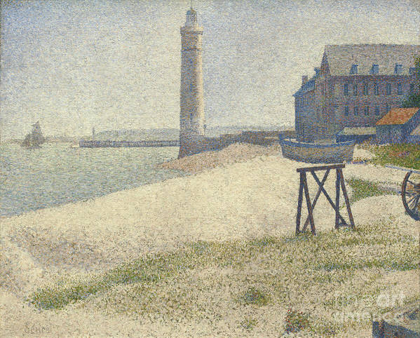 Port; Seine; Coastal; Scene; Beach; Hospice; Normandy; Sand; Dunes; Pointillist; Seascape; View Art Print featuring the painting The Lighthouse At Honfleur by Georges Pierre Seurat