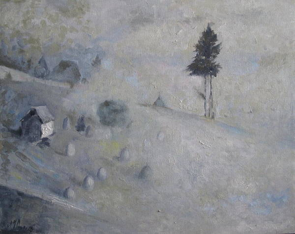 Landscape Art Print featuring the painting Winter by Magda Urse