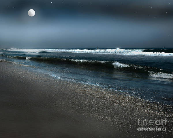 Beach Art Print featuring the photograph Night Beach by Artist and Photographer Laura Wrede