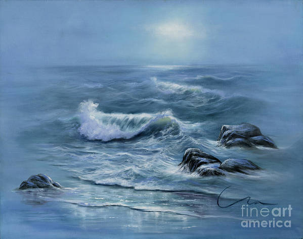 Blue Seascape Art Print featuring the painting Peaceful Place by Sharon Abbott-Furze