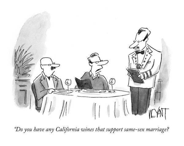 Gay Art Print featuring the drawing Do You Have Any California Wines That Support by Christopher Weyant