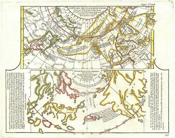 Art Print featuring the photograph 1772 Vaugondy Diderot Map Of Alaska The Pacific Northwest And The Northwest Passage by Paul Fearn
