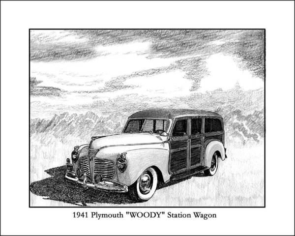 Framed Pen And Ink Images Of Classic Plymouth Cars. Pen And Ink Drawings Of Vintage Classic Cars. Black And White Drawings Of Cars From The 1930�s Art Print featuring the drawing 1941 Plymouth Woody by Jack Pumphrey