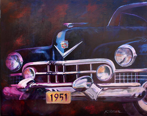 Transportation Art Print featuring the painting 1951 Cadillac by Ron Patterson