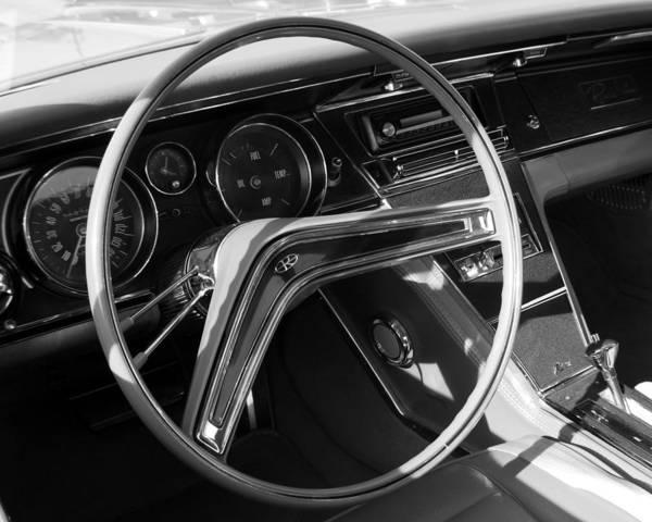 1965 Buick Riviera Steering Wheel Art Print featuring the photograph 1965 Buick Riviera Steering Wheel by DJ Monteleone