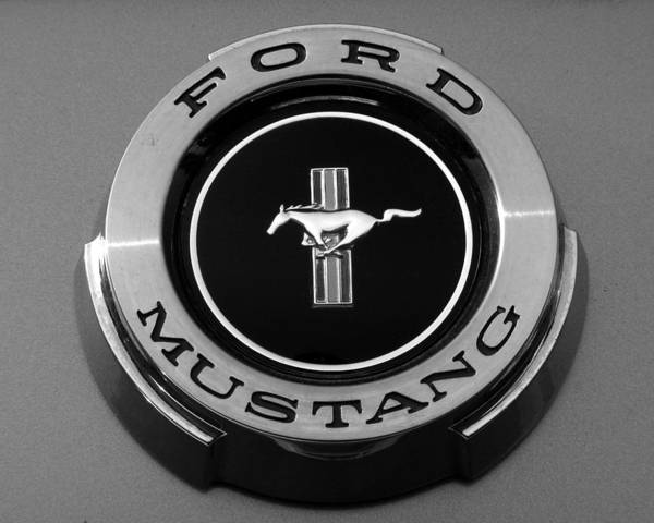 Emblems Art Print featuring the photograph 1965 Ford Mustang Emblem by DJ Monteleone