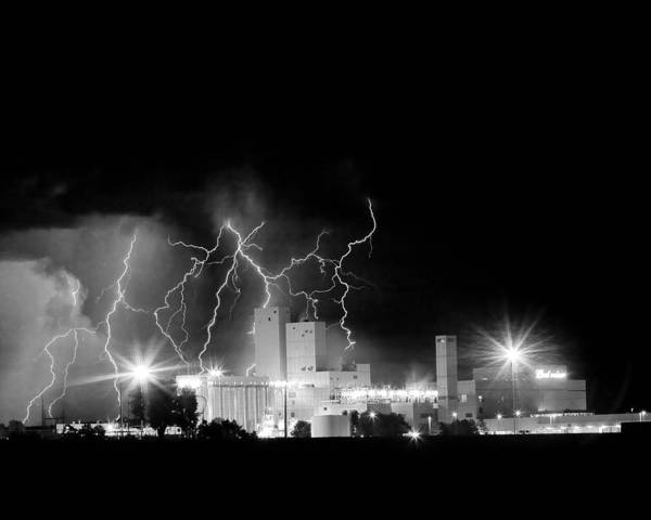 Lightning Print featuring the photograph Budweiser Lightning Thunderstorm Moving Out Bw by James BO Insogna
