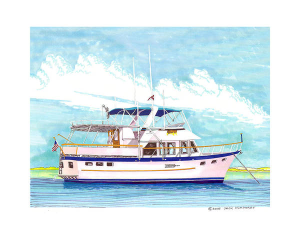 Yacht Portraits Art Print featuring the painting 37 Foot Marine Trader 37 Trawler Yacht At Anchor by Jack Pumphrey