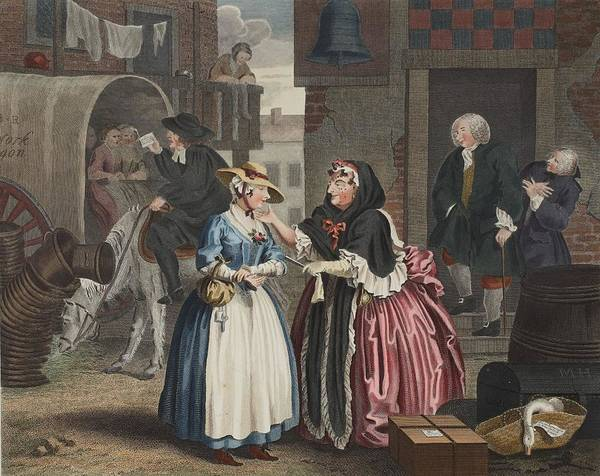 Moll Hackabout Art Print featuring the drawing A Harlots Progress, Plate I by William Hogarth