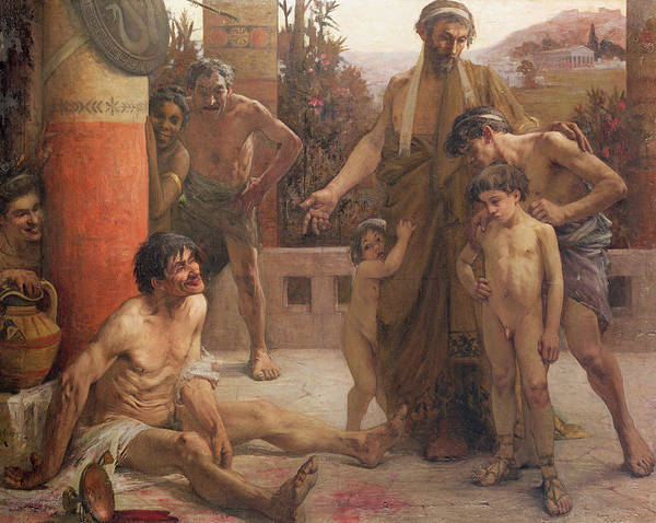 A Spartan Points Out A Drunken Slave To His Sons Art Print featuring the painting A Spartan Points Out A Drunken Slave To His Sons by Fernand Sabbate