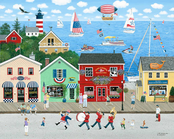 Folk Art Art Print featuring the painting A Star Spangled Day  by Wilfrido Limvalencia