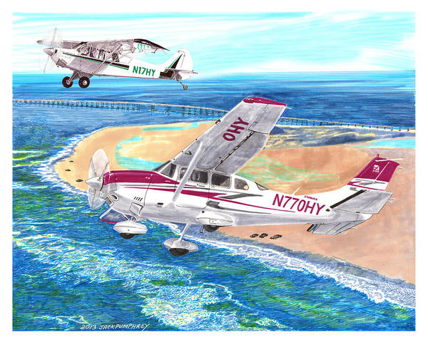 Watercolor Painting Of 2007 Cessna 206 And A1a Aviat Husky By Jack Pumphrey Art Print featuring the painting Cessna 206 And A1a Husky by Jack Pumphrey
