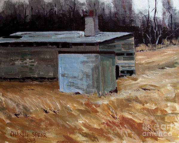 Ice House Print featuring the painting Abandoned Ice House Circa Late 1800.s by Charlie Spear