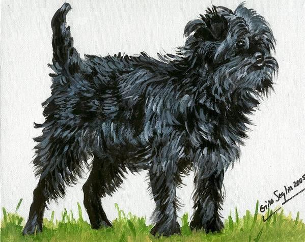 Affenpinscher Dog Art Print featuring the painting Affenpinscher Dog by Olde Time Mercantile