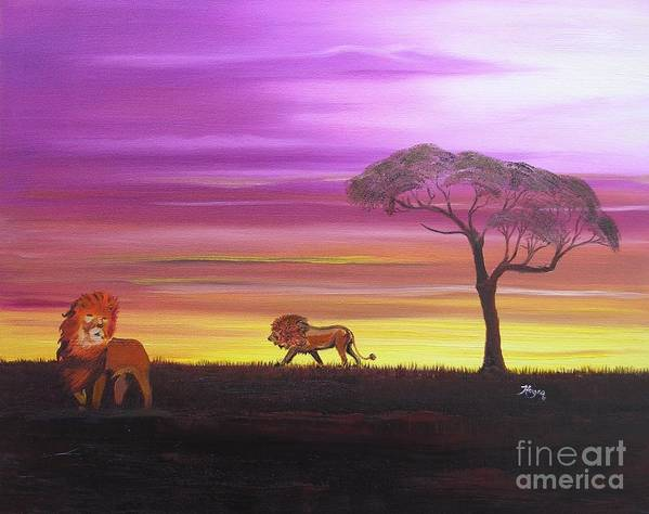 African Art Print featuring the painting African Lions by Barbara Hayes