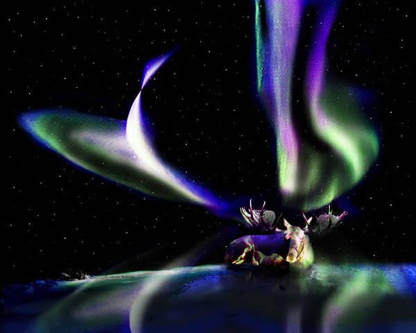 Alaska Art Print featuring the digital art Alaska Aurora Unpredictable Spirals    by Dianne Roberson