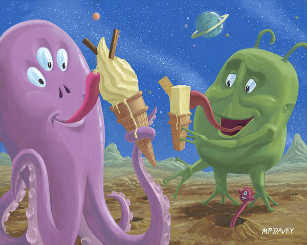 99 Flake Art Print featuring the painting Alien Ice Cream by Martin Davey
