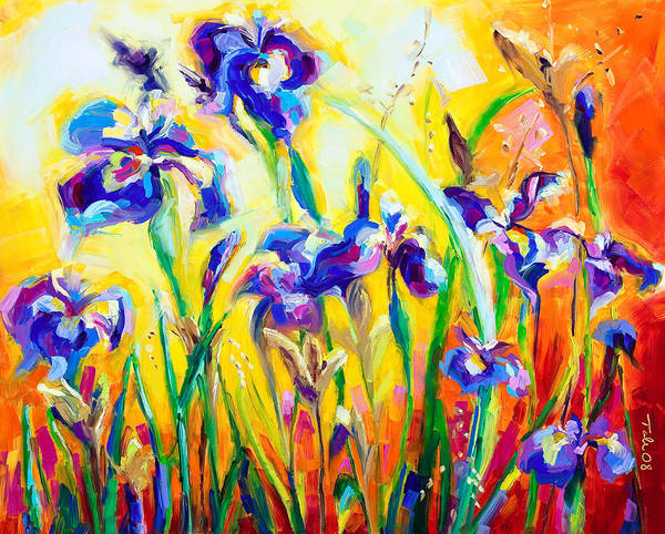 Irises Art Print featuring the painting Alpha And Omega by Talya Johnson