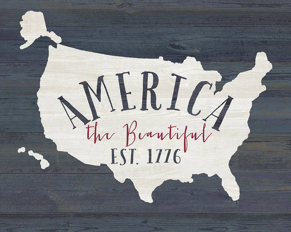 Sentiment Art Print featuring the painting America The Beautiful by Jo Moulton
