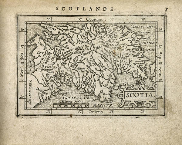 Scotland Art Print featuring the drawing Antique Map Of Scotland By Abraham Ortelius - 1603 by Blue Monocle