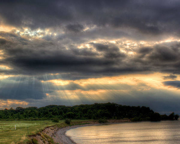 Lake Ontario Art Print featuring the photograph Art For Crohn's Lake Ontario Sun Beams by Tim Buisman