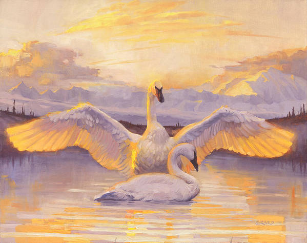 Swans Art Print featuring the painting Awakening by Francois Girard