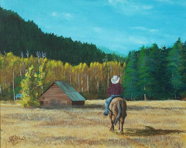 Landscape Art Print featuring the painting Back To The Barn by Gene Ritchhart