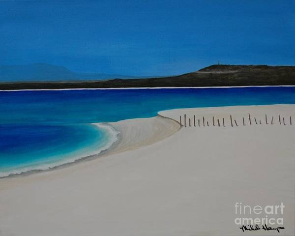 Baja Art Print featuring the painting Baja Beach With Fence by Michele Harps