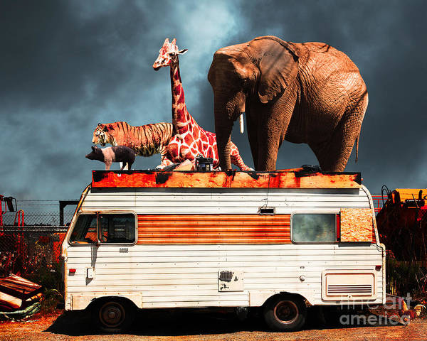 Transportation Art Print featuring the photograph Barnum And Bailey Goes On A Road Trip 5d22705 by Wingsdomain Art and Photography