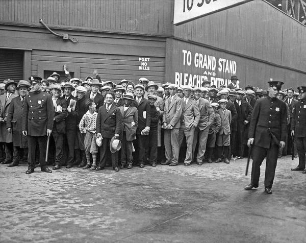 1938 Art Print featuring the photograph Baseball Fans Waiting In Line To Buy World Series Tickets. by Underwood Archives