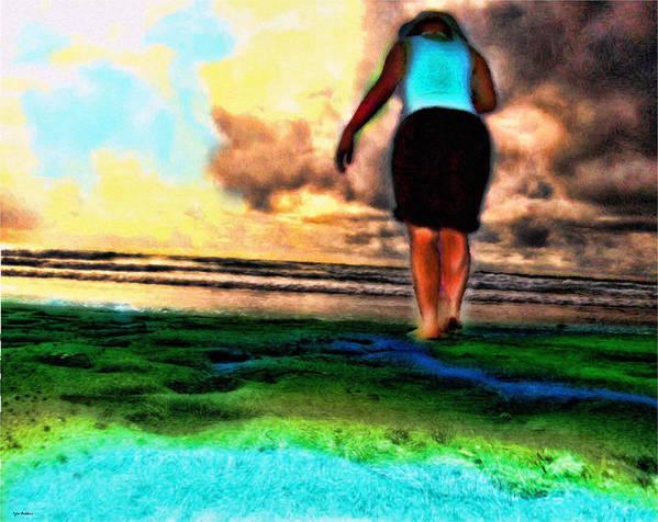 Beach Art Print featuring the mixed media Beach Walking by Tyler Robbins