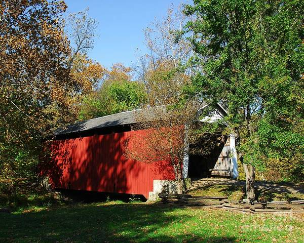 Beeson Covered Bridge Art Print featuring the photograph Beeson Covered Bridge 1 by Mel Steinhauer