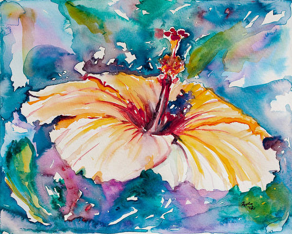 Hibiscus Art Print featuring the painting Beyond Blue by Eve Wheeler