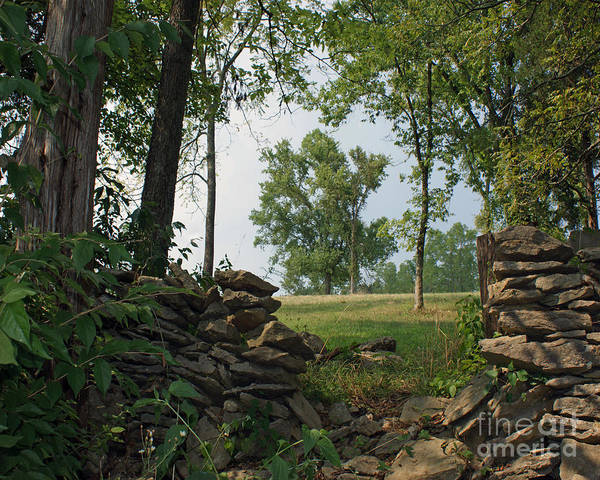 Kentucky Art Print featuring the painting Beyond The Rock Fence by Roger Potts