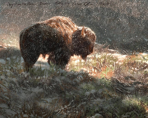 Bison Art Print featuring the digital art Bison In The Snow by Aaron Blaise