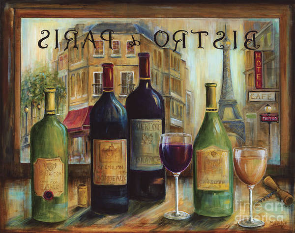 Wine Art Print featuring the painting Bistro De Paris by Marilyn Dunlap
