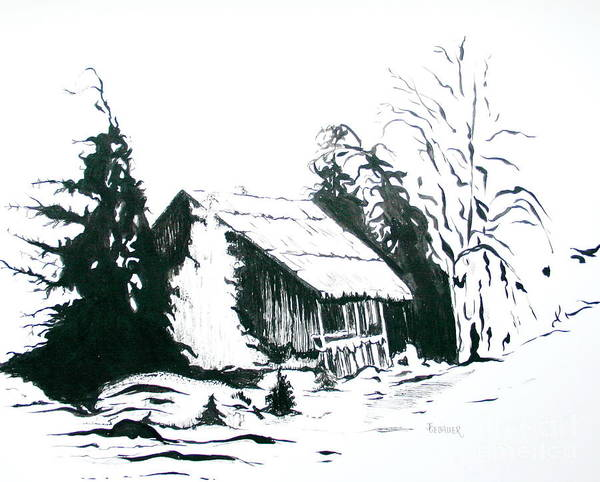 Barn Art Print featuring the drawing Black And White Barn In Snow by Joyce Gebauer