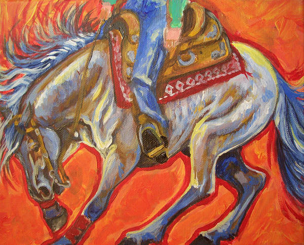 Horse Art Print featuring the painting Blue Roan Reining Horse Spin by Jenn Cunningham