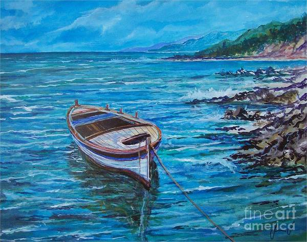 Beach And Waves Art Print featuring the painting Boat by Sinisa Saratlic