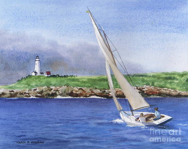 Seascape Art Print featuring the painting Boston Light by Karol Wyckoff
