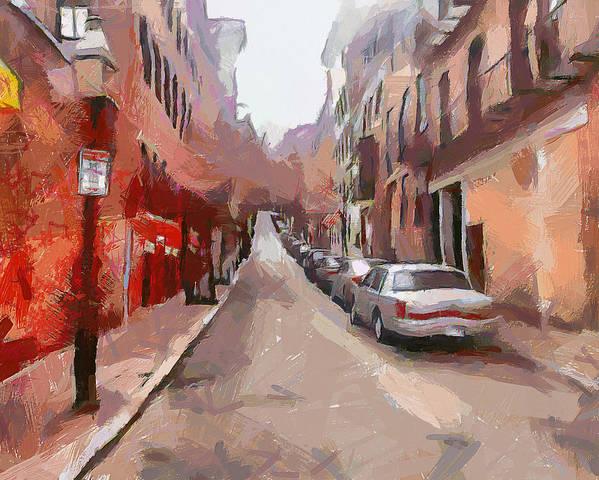Boston Art Print featuring the digital art Boston Streets 1 by Yury Malkov