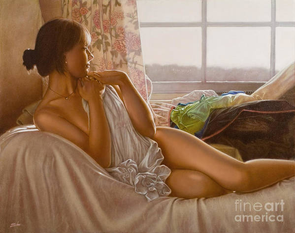 Paintings Art Print featuring the painting By The Window by John Silver