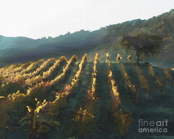 Corde Valle San Martin Ca Art Print featuring the painting California Vineyard Series Wine Country by Artist and Photographer Laura Wrede