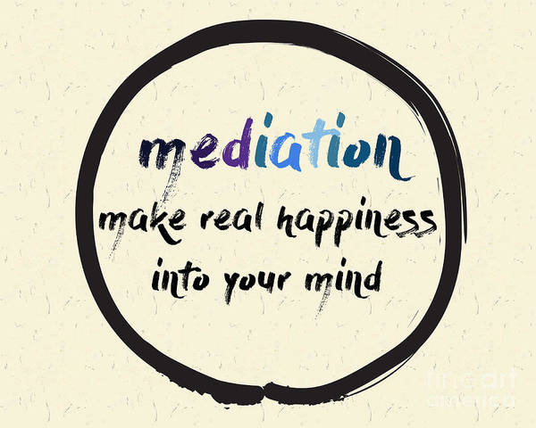 Typography Art Print featuring the digital art Calligraphy Mediation Make Real by Emilie Gerard